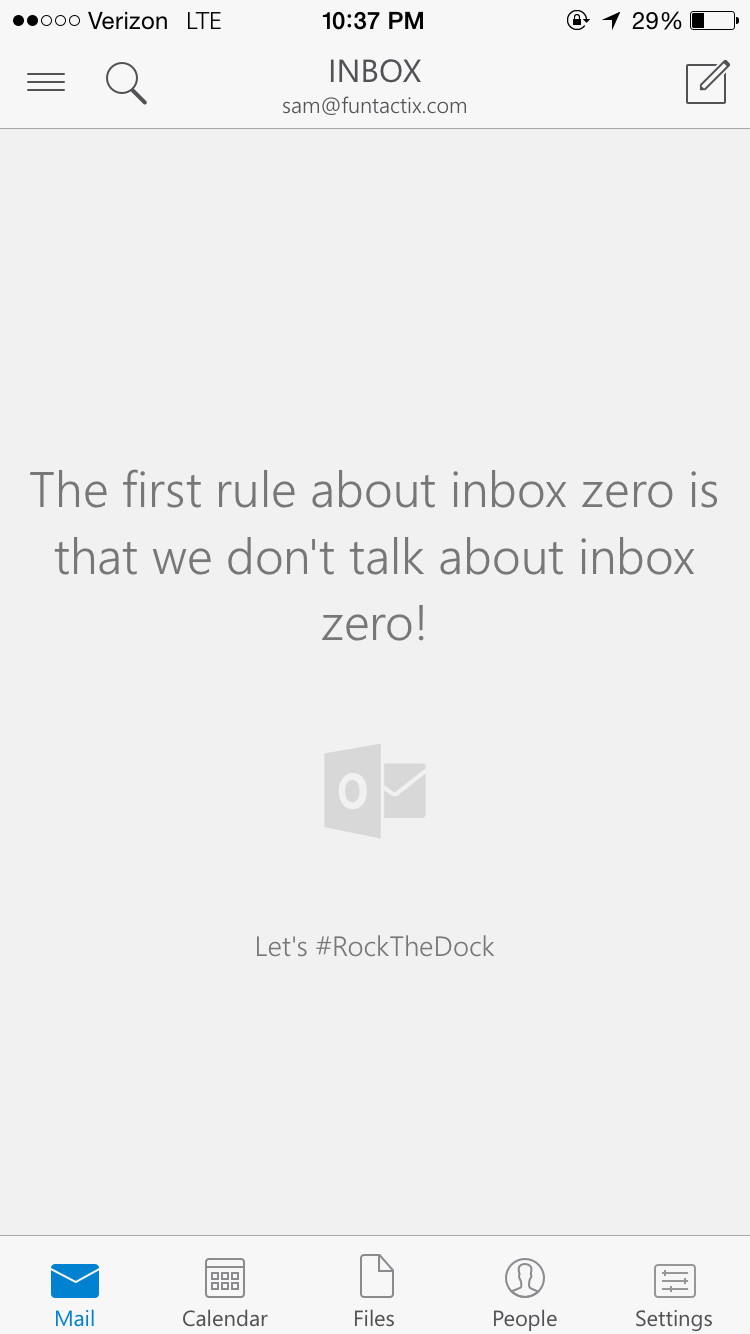 One of many Inbox Zero UIs on Microsoft Outlook for iPhone
